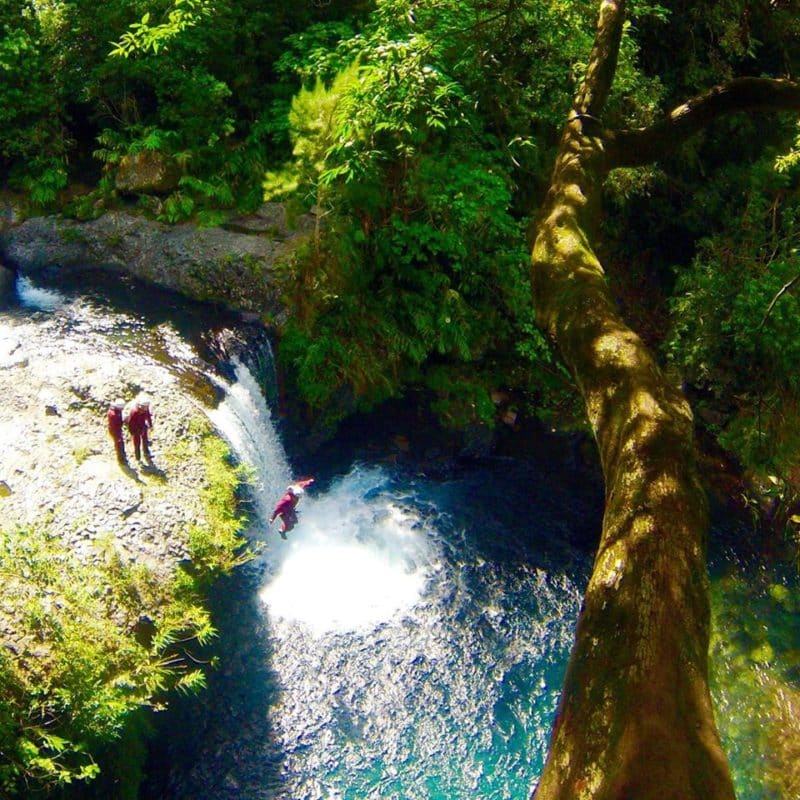 Canyoning waterfall Sainte Suzanne River