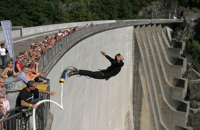 Bungee Jumping like James Bond from the Contra Dam in Switzerland