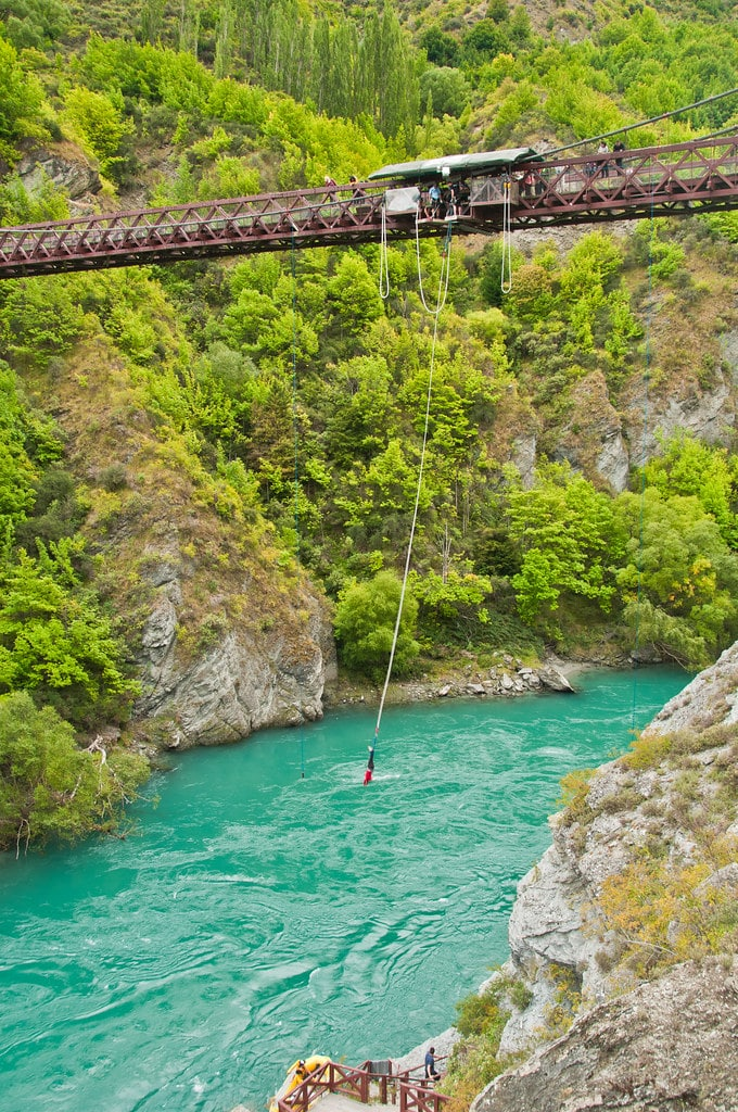 skydiving from the Kawarau Gorge suspension bridge new zealand