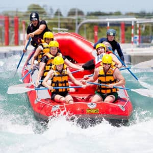 Whitewater river rafting in Vector Wero Whitewater Park, Auckland, New Zealand.