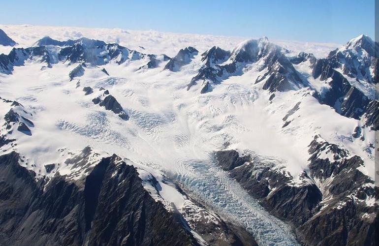 View of Mount Cook from an airplane in New Zealand