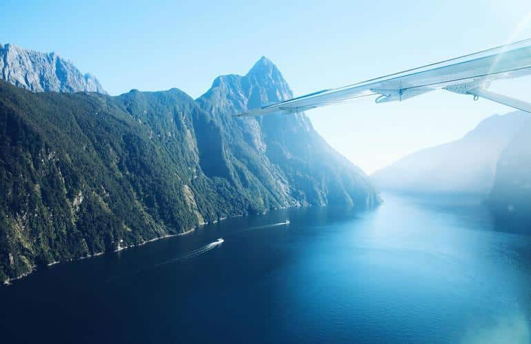 View of Milford Sound from the flight