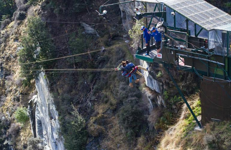 Canyon swing over the Shotover Canyon in New Zealand