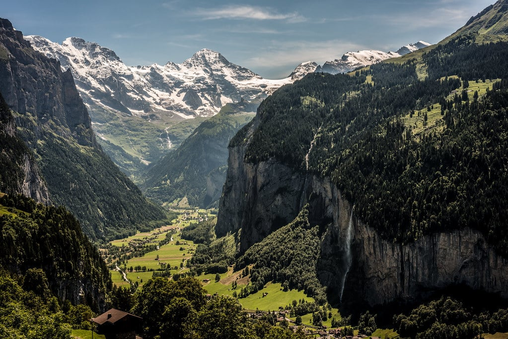 View on the mountains from the Bernese Oberland