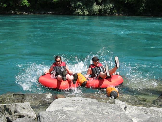 Drifting down the Aare River with a buoy