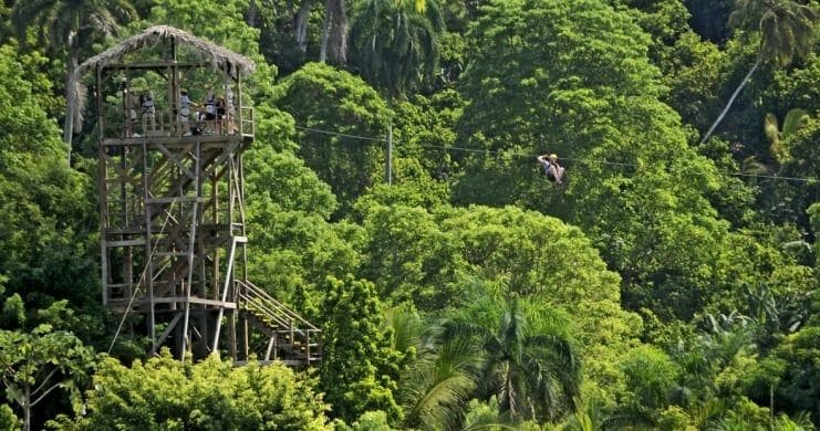 The start of the zipline experience in Puerto Plata, in the dominican republic