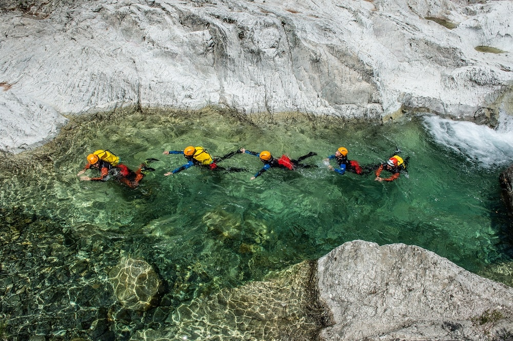 People Canyoning in Verghellu, Corsica