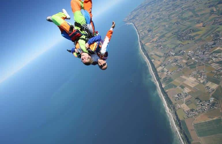 Tandem Skydiving over the cliffs of Normandy