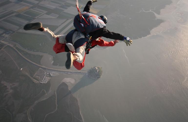 Tandem Skydiving over the Mont-Saint-Michel