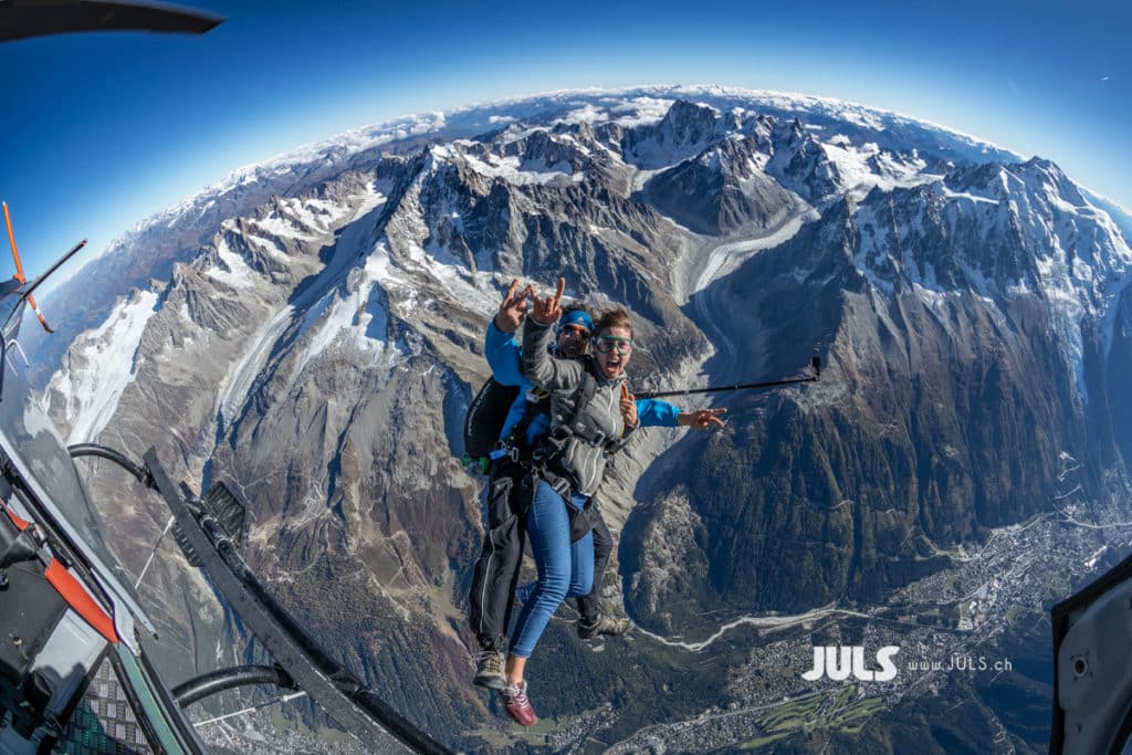 Skydiving over the Mont Blanc